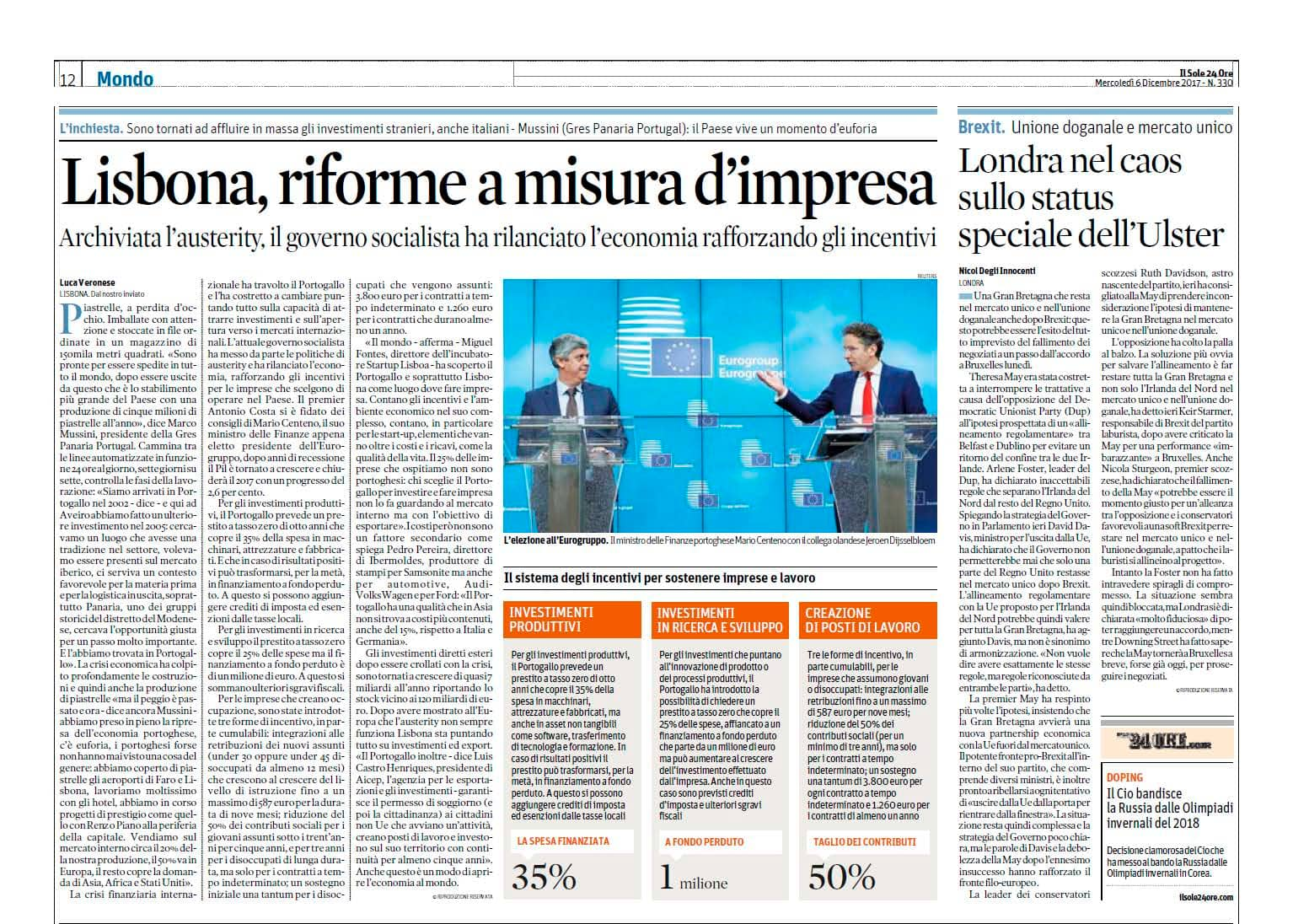 Gres Panaria Portugal is center news at italian press