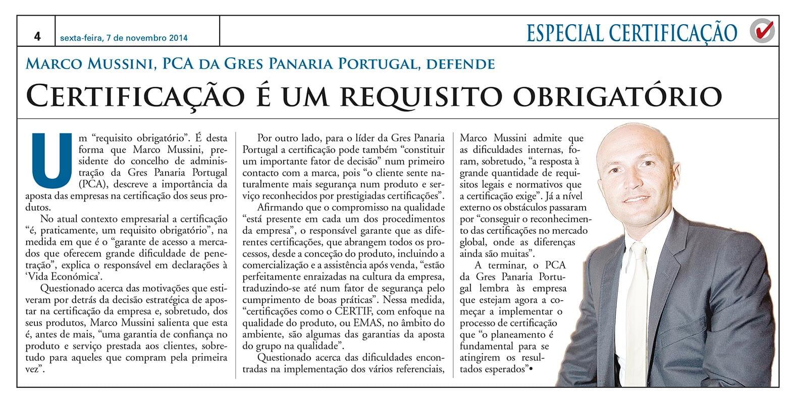 CEO of Gres Panaria Portugal Interview by Vida Económica