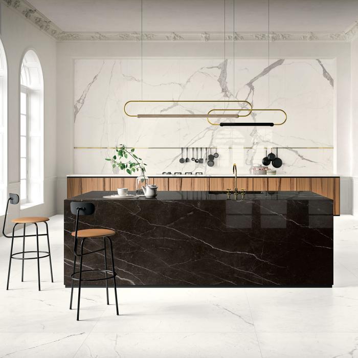 Kerlite Vanity Bianco Statuario Chain 120x260 G-Bianco Luce 120x120 TC-Dark Brown G