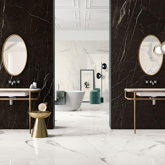 Kerlite Vanity Dark Brown 120x260 TC-Bianco Statuario 120x260 G-120x120 G