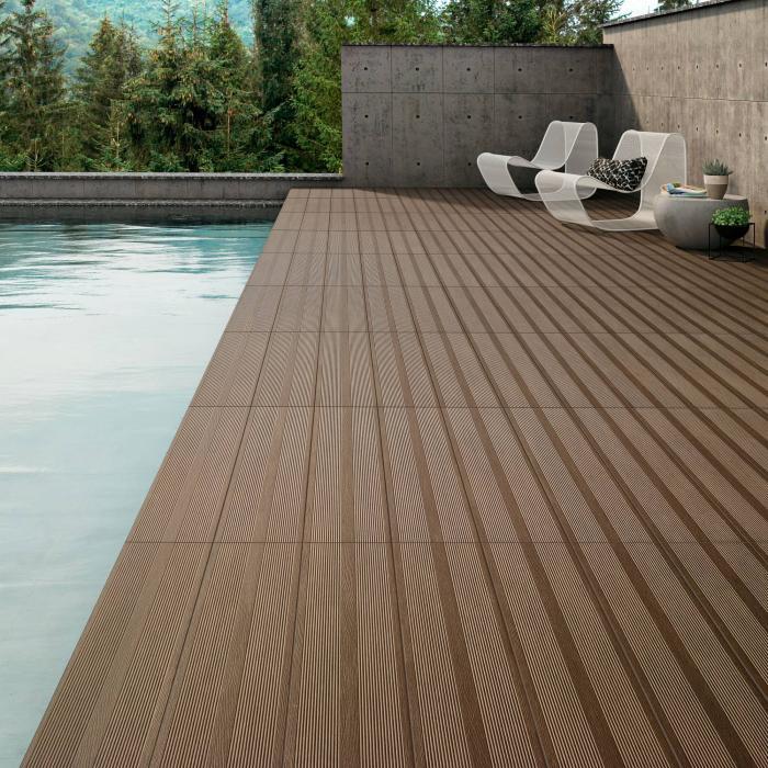 Natural Wenge 20x90 K Deck céramique - bassin